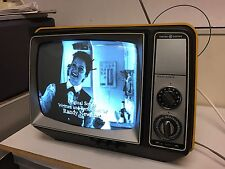 General Electric GE yellow 70's vintage portable Solid State Television / Prop