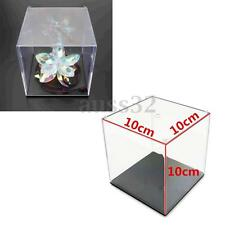 """Clear Acrylic Plastic Display Box Case Dustproof Tray Protection Cube 3.9""""/10cm"""