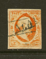 NETHERLANDS :1852 15c orange-yellow imperf SG 3b used