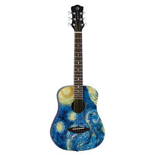 Luna SAFSTR Safari Starry Night  Satin Finish 3/4 Travel Acoustic Guitar w/ Bag