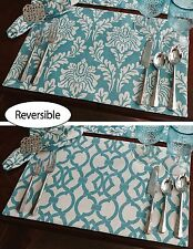 Teal and Cream Damask and Geo Reversible Margaux Placemats,13x19, Set of Four