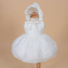 New Girls Ivory Christening Gown with Bonnet 0-3 Months
