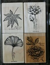 Stampin' Up ORIENTAL GARDENS Set 4 Rubber Stamps Lot Maple Lotus Peony Gingko