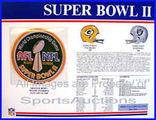 SUPER BOWL 2  Packers Raiders 1968 Willabee & Ward OFFICIAL SB II NFL PATCH CARD