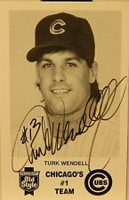 AUTOGRAPHED B&W 3 & 1/2 X 5 & 1/2 PHOTO MLB   TURK WENDELL CHICAGO CUBS