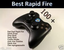 XBOX 360 RAPID FIRE MODDED CONTROLLER COD GHOST BLACK OPS 2 DARK ABXY BLUE LED