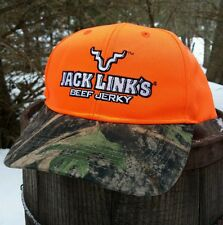 Jack Links Beef Jerky Hat Blaze Orange Camo Brim Wild Side Hunting Cap NWOT