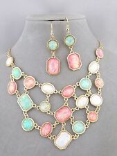 Gold With Pink Green White Opal Acrylic Bib Necklace Set Fashion Jewelry NEW