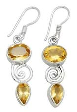 Natural Citrine Gemstone Earrings Solid 925 Sterling Silver Jewelry IE20455