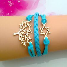 Bracelet bleu arbre de vie couleur or et l'étoile de David doré. Top tendance