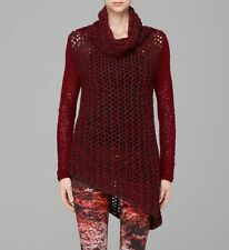 NWOT $495 HELMUT LANG TATTERED CHUNKY RED TURTLENECK SWEATER  SIZE P OR XS
