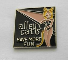 BOWLING ALLEY CATS HAVE MORE FUN NOVELTY LOGO LAPEL PIN 1 INCH