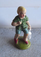 """Vintage 1930s Composition Boy with Milk Can Figurine 2 3/8"""" Tall"""