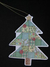 12 Carol Wilson Gift Tags Christmas Patchwork Quilt Tree Embossed Diecut Glitter