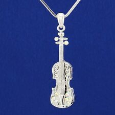 "Viola W Swarovski Crystal Violin Fiddle Music Pendant Necklace Gift 18"" Chain"