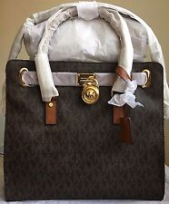 NWT Authentic MICHAEL KORS Hamilton Large Logo PVC Tote Handbag $348 Brown