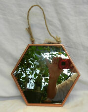 Copper Framed Hexagonal Shape Wall Mirror - Small - BNWT
