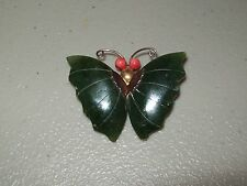 Vintage Gold Tone Carved Green Jade And Red Coral Butterfly Brooch Pendant