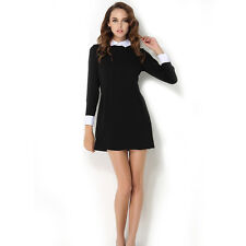 Women's Autumn Winter Slim Elegant Peter Pan Collar Long Sleeve Black Dress