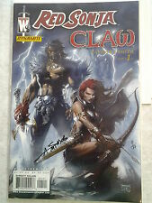 RED SONJA/ CLAW #1 JIM LEE VARIANT RARE LTD SIGNED COVER 7/99 1ST PRINT COA NM/M