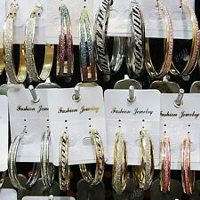 Wholesale Lots Mix 12Pairs Big Frosted Silver Gold Hoop Earrings for Women Mens