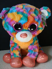 "NWT Hugfun JUMBO Big Eye Plush Bear 26"" Pink Sparkly Eyes Beanie Huge Tie-Dye"