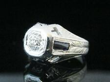 ANTIQUE 18K WHITE GOLD SOLITAIRE OLD EUROPEAN CUT .50 CT. DIAMOND 2 SAPPHIRES