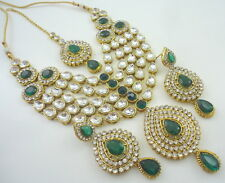 PARTY WEAR GREEN CZ KUNDAN GOLD TONE NECKLACE SET BOLLYWOOD BRIDAL JEWELRY