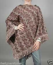MISSONI Wool Heavy Zigzag Wavy Poncho Cape Sweater Fringe Shrug Scarf Brown