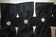 "vtg BLACK SATIN w Swarovski Crystal ""diamond"" 18 bow bows dress straps strap Lux"