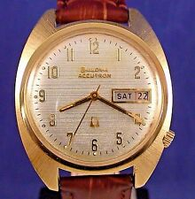 Bulova Accutron 218(2) day/date gold plated vintage watch with new leather strap