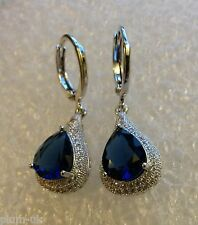 B09.Plum UK blue sapphire & sim diamond pear drop earrings, white gold gf BOXED