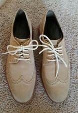 Mens Cole Haan 9.5 M Brown Suede Wingtips Rubber Sole Dress Shoes LunarGrand