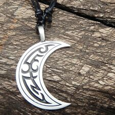 Crescent Wicca MooN Celtic Tattoo Pewter Pendant And Cotton Necklace #1343