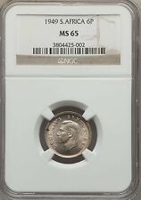 1949 South Africa 6 Pence NGC MS 65, Key Date, Only 1 Finer @ NGC