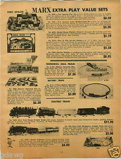 1965 PAPER AD Marx Steam Freight Toy Train Set V-Rroom Power Wrecker Tow Truck