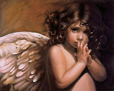 """New Paint By Number Kit  Angel's Wing Baby Girl Digital Oil Painting16X20"""" 022"""