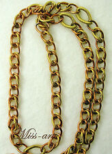 "SOLID BRASS & COPPER Large Textured Oval Chain 28"" Substantial Necklace Miss-art"