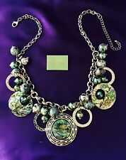Spring Street Statement Necklace Silver Abalone Shell Aqua Beads r11M