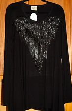 Vocal  Super Bling Black Dress/Top W/free Harley Davidson Key Chain Plus size