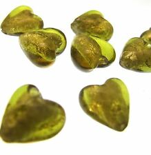 10 SILVER FOIL BEADS Olive Green Heart 12mm Lampwork Glass Puff Pendant
