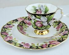 ANTIQUE CUP SAUCER PLATE TRIO BLACK,GOLD,PINK ROSE,DOGWOOD,GREEN LEAVES