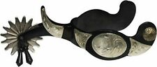 Mens Black Steel Western Jingle Bob Spurs Lots of Engraved Silver Show or Rodeo