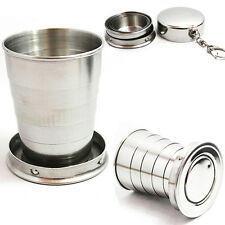 75ML Stainless Steel Folding Cup Keychain Keyring Sports Camping Hiking Engaging
