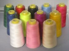 LOT OF 12 SPOOLS - 12 colors Polyester Sewing Machine Thread - 3000 yds ea