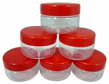 Sunpet Set of 6 50ml Red Top Plastic Food Storage Canisters Jars pots KitchenNEW