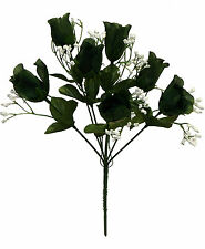 7 Roses ~ HUNTER GREEN ~ Silk Wedding Flowers Bouquets Centerpieces Decorations