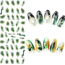 1 Sheet Nail Art Water Transfer Decal DIY Manicure Sticker Green Feathers Style