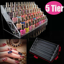 New Acrylic Clear Nail Polish Storage Organizer 5-Tier Rack Display Stand Holder