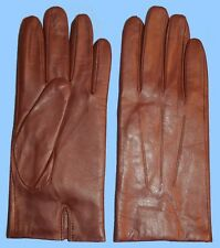 NEW MENS LIGHT BROWN size 8 or small LEATHER GLOVES-ACRYLIC LINED-FREE SHIPPING!